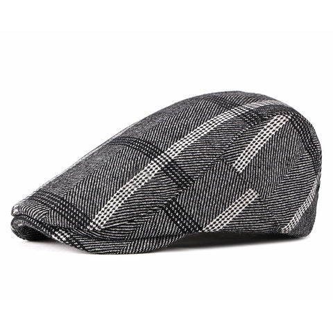 Mens Newsboy Comfortable Stripe Beret Cap