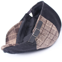 Load image into Gallery viewer, Men Retro Color Block Plaid Warm Painter Hat Fashion Beret Cap