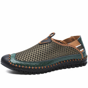 Large Size Men Hand Stitching Mesh Outdoor Soft Slip Resistant Flats