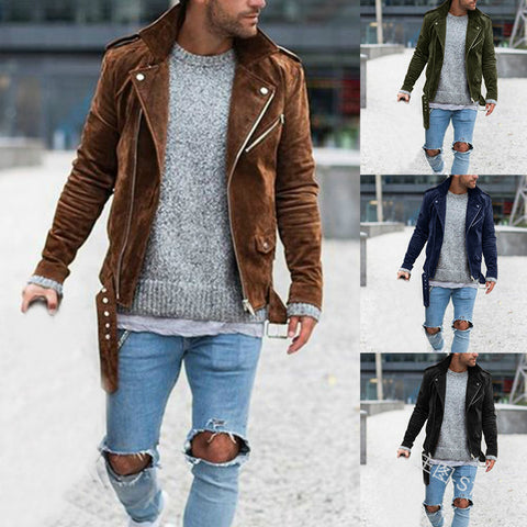 Mens Fashion Lapel Zipper Long Sleeve Jacket