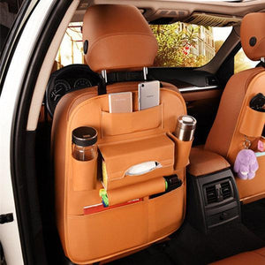 Leather Car Storage Bag Multi-compartment Car Seat Storage Container Outdoors Hanging Bag