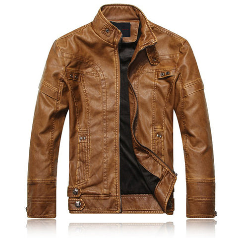 Mens Fashion PU Stand Collar Jackets