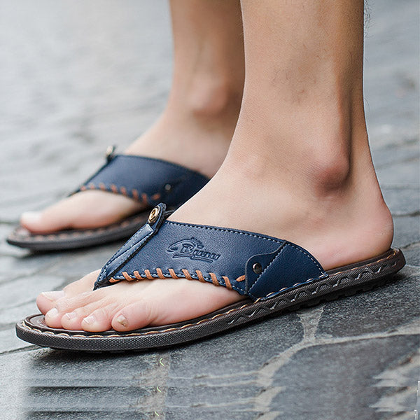 Mens Fashion Microfiber Clip Toe Slippers Flip Flops