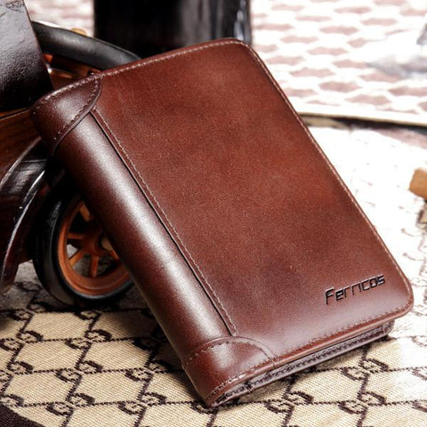 RFID Blocking Secure Wallet Genuine Leather Tri-fold Wallet