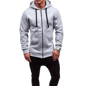 Mens New Zipper Hooded Sweater Solid Color Hoodies