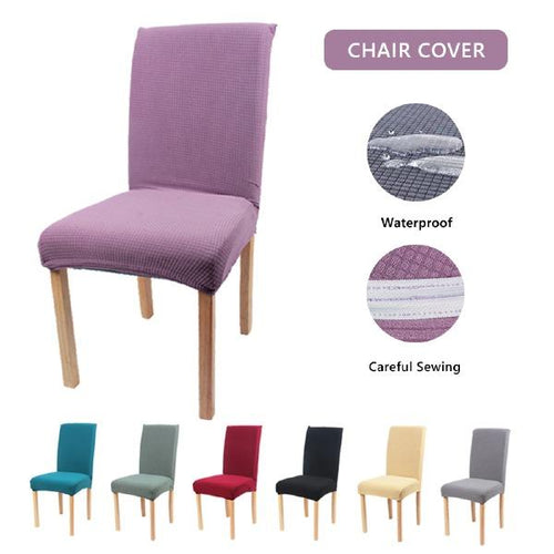 Waterproof Solid Color Elastic Polyester Chair Cover