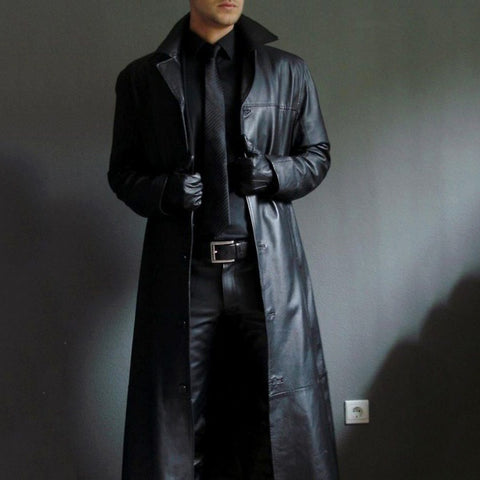 Men Turn Neck Jacket Slim Long Warm Coats
