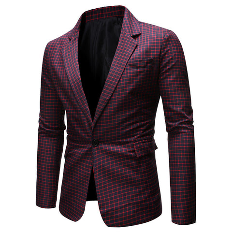 Spring/Autumn Men's Plaid High Quality Business Suits