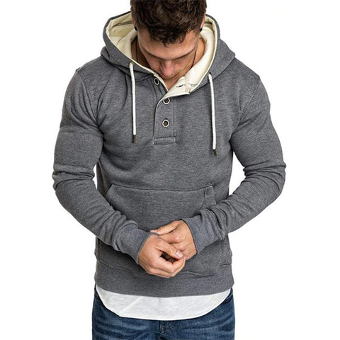 Mens Button Front Kangaroo Pocket Fleece Hoodies
