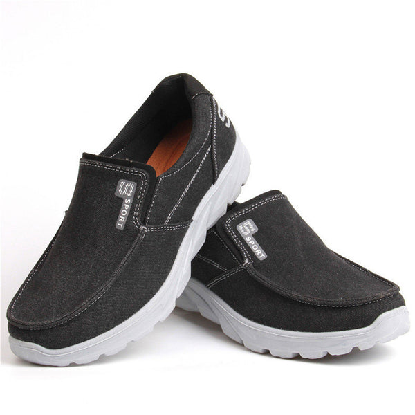 Large Size Mens Canvas Comfy Soft Slip On Walking Shoes