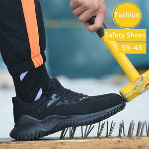 Mens Large Size Breathable Casual Steel Toe Safety Shoes