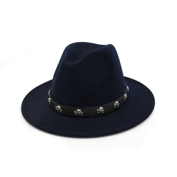 Fashion Hot Wool Jazz Couple Retro Flat Straight Big Hat