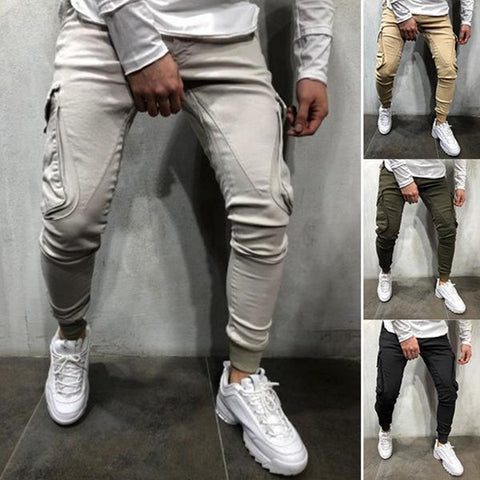 Mens Fashion Street Style Solid Color Slim Jogger Pants