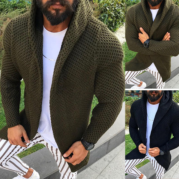 Mens Casual Knitted Cardigans Solid Color Hoodies