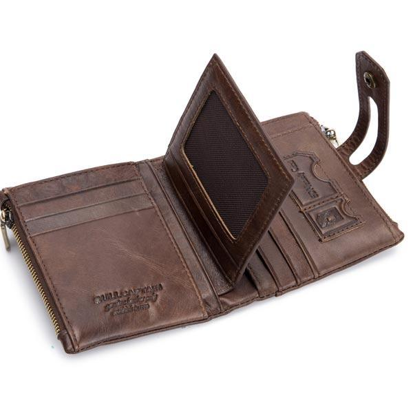 Vintage Genuine Leather 7 Card Slots Coin Bag Wallet