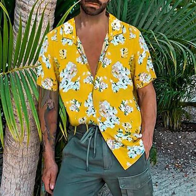 Chic Floral Printing Short Sleeve Loose Men Shirt