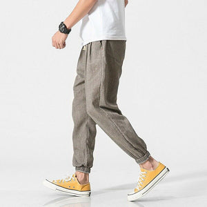 Mens Casual Drawstring Solid Color Harem Pants