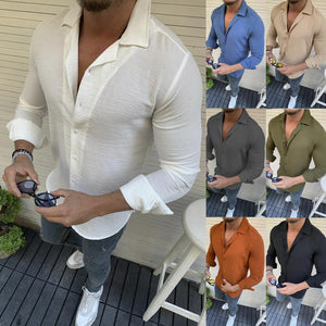 Men's New Lapel Long Sleeve Solid Color Shirt