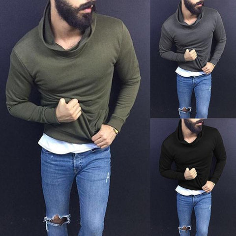 Heap Collar Slim Fit Solid Color T-Shirts