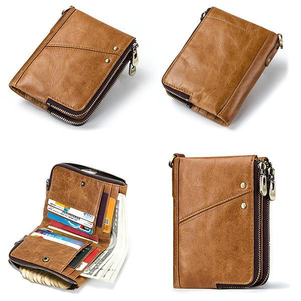 Men RFID Antimagnetic Wallet Genuine Leather Coin Bag