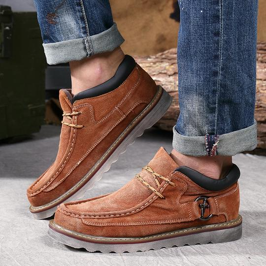 Mens British Casual Retro Leather Flat Shoes