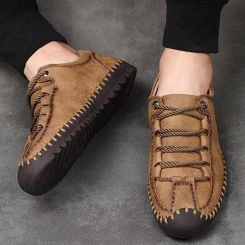 Men Casual Hand Stitching Comfortable Loafers Flat Shoes