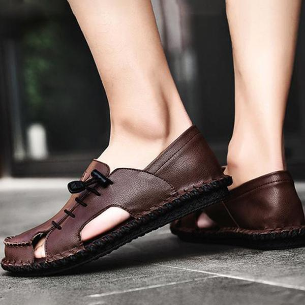 Genuine Leather Hollow Casual Sandals