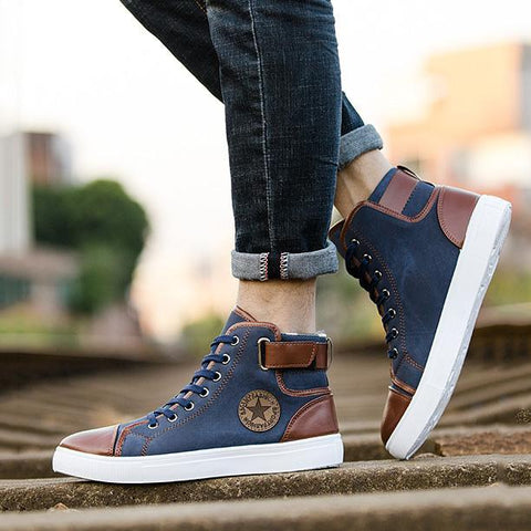 Fashion High Mens Patchwork Canvas Shoes