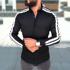 Features Shirts Casual Slim Fit Male Shirts