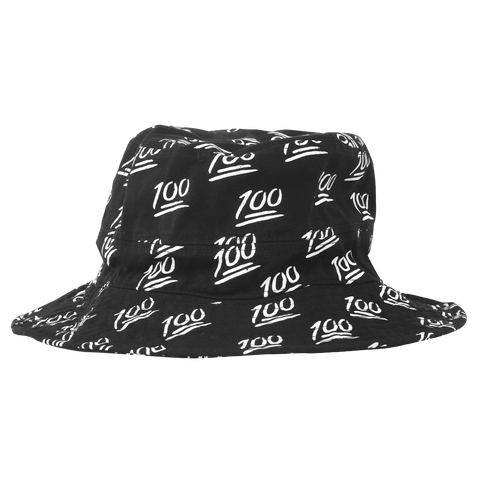'100' Bucket Hat (Black & White)