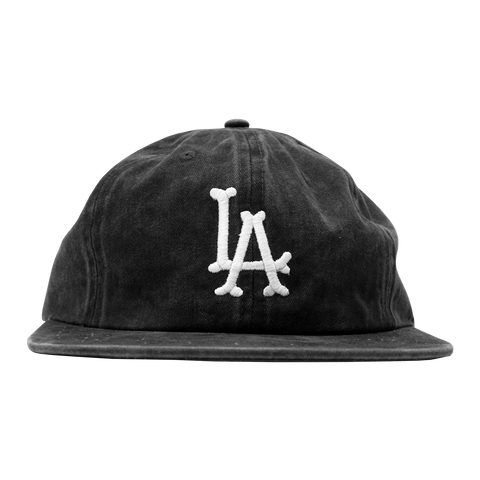 'LA Bones' StrapBack Hat (Distressed Black)