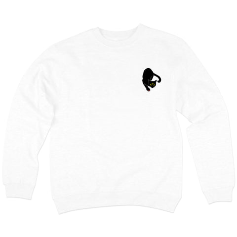 'Black Cat' Crewneck Sweatshirt (White)