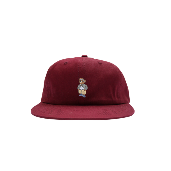 'Cholo Bear' StrapBack Hat (Burgundy)