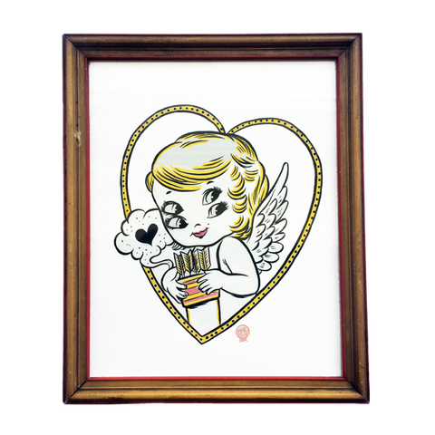 'I'm With Cupid' Original (Signed Artwork in Vintage Frame)