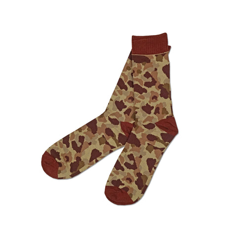 'Camouflage' Socks (Burgundy)