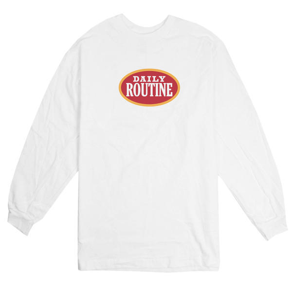 'Daily Routine' L/S T-Shirt (White)
