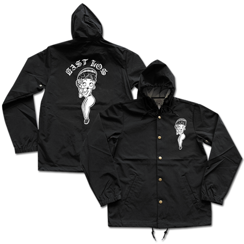 'East Los' Hooded Windbreaker (Black)