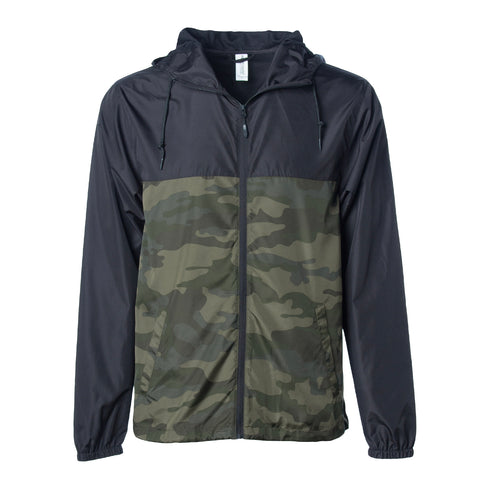 'Essentials Lightweight Windbreaker' (Black & Camo)