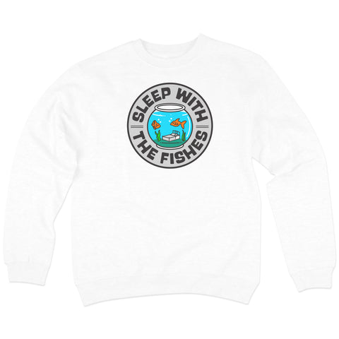 Sleep With The Fishes' Crewneck Sweatshirt (White)
