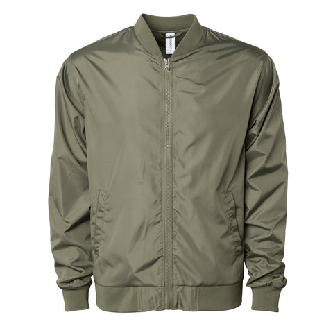'Essentials Lightweight Bomber Jacket' (Army Green)