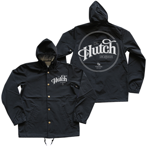 'Hutch LA' Hooded Windbreaker (Black)