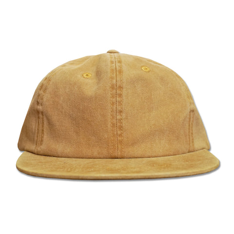 'Essentials Unstructured' StrapBack Hat (Distressed Gold)
