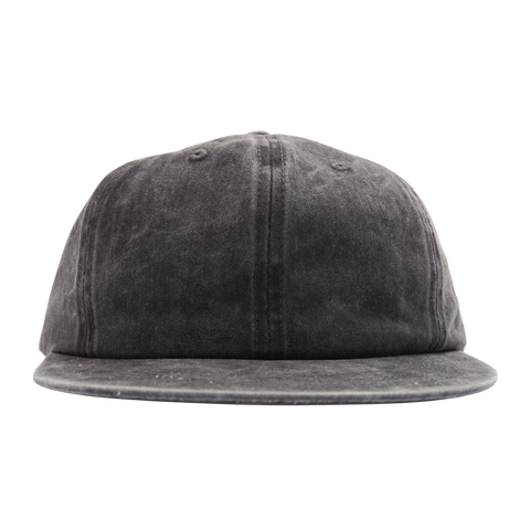 'Essentials Unstructured' StrapBack Hat (Distressed Black)