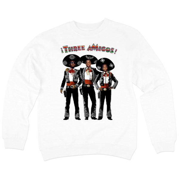 'Three aMigos' Crew Neck Sweatshirt (White)