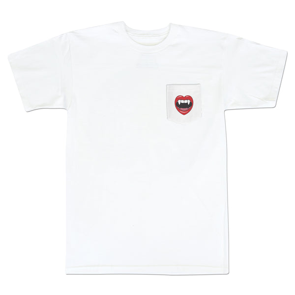 'Love At First Bite' Pocket T-Shirt (White)