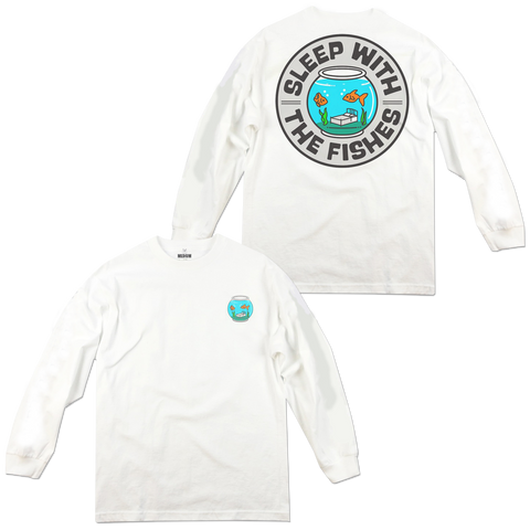 'Sleep w/the Fishes' LongSleeve T-Shirt (White)