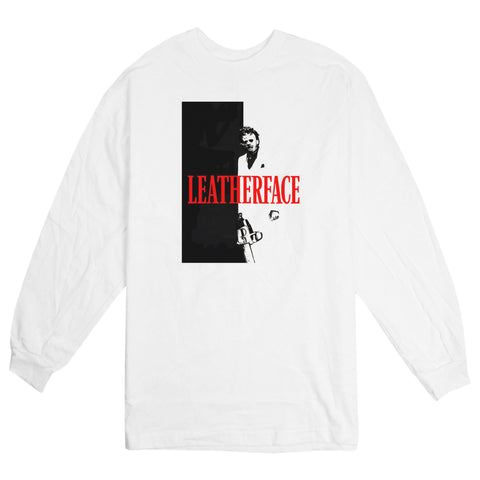 'Leather Face' L/S T-Shirt (White)