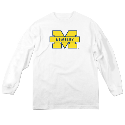'Michigan & Smiley' Long Sleeve T-Shirt (White)