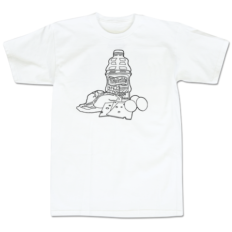 'T-Bone Steak, Cheese, Eggs & Welch's Grape' T-Shirt (White)