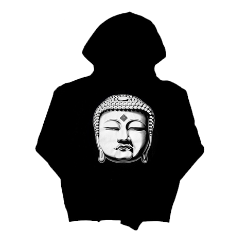 'Buddha' Women's Zip-Up Hoodie (Black)